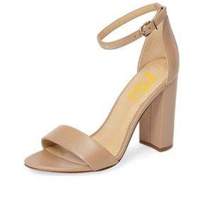 FSJ Nude Chunky High Heel Ankle Strap Sandal